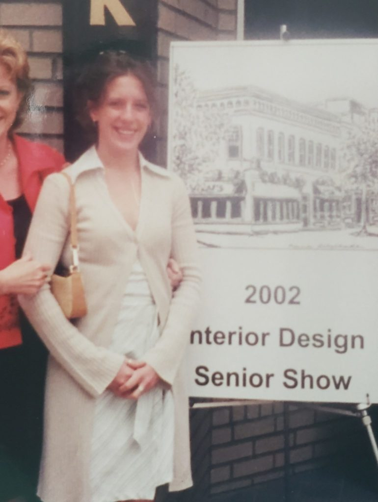 Carolyn at her senior year design show in 2002