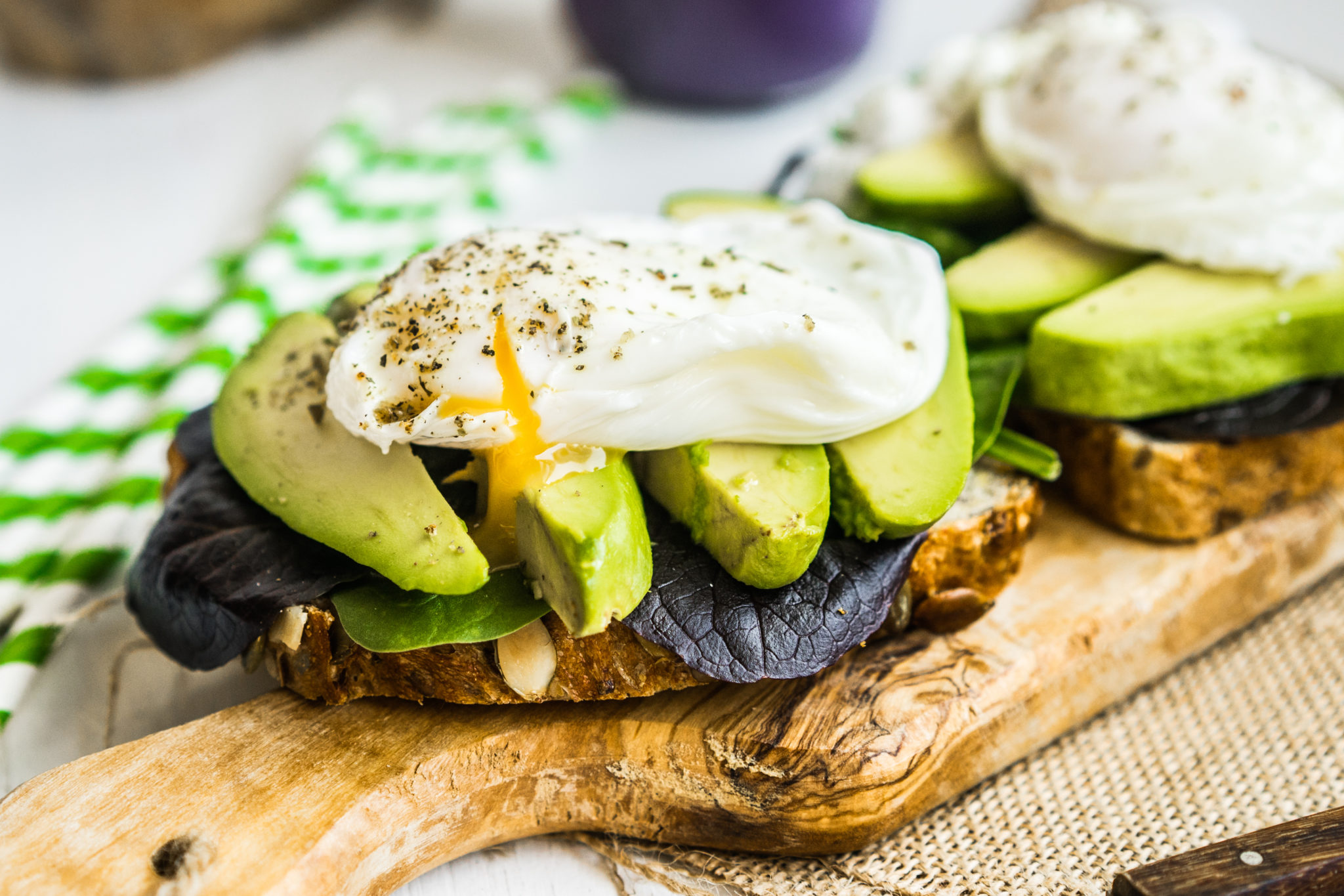 avocado and poached eggs on toast