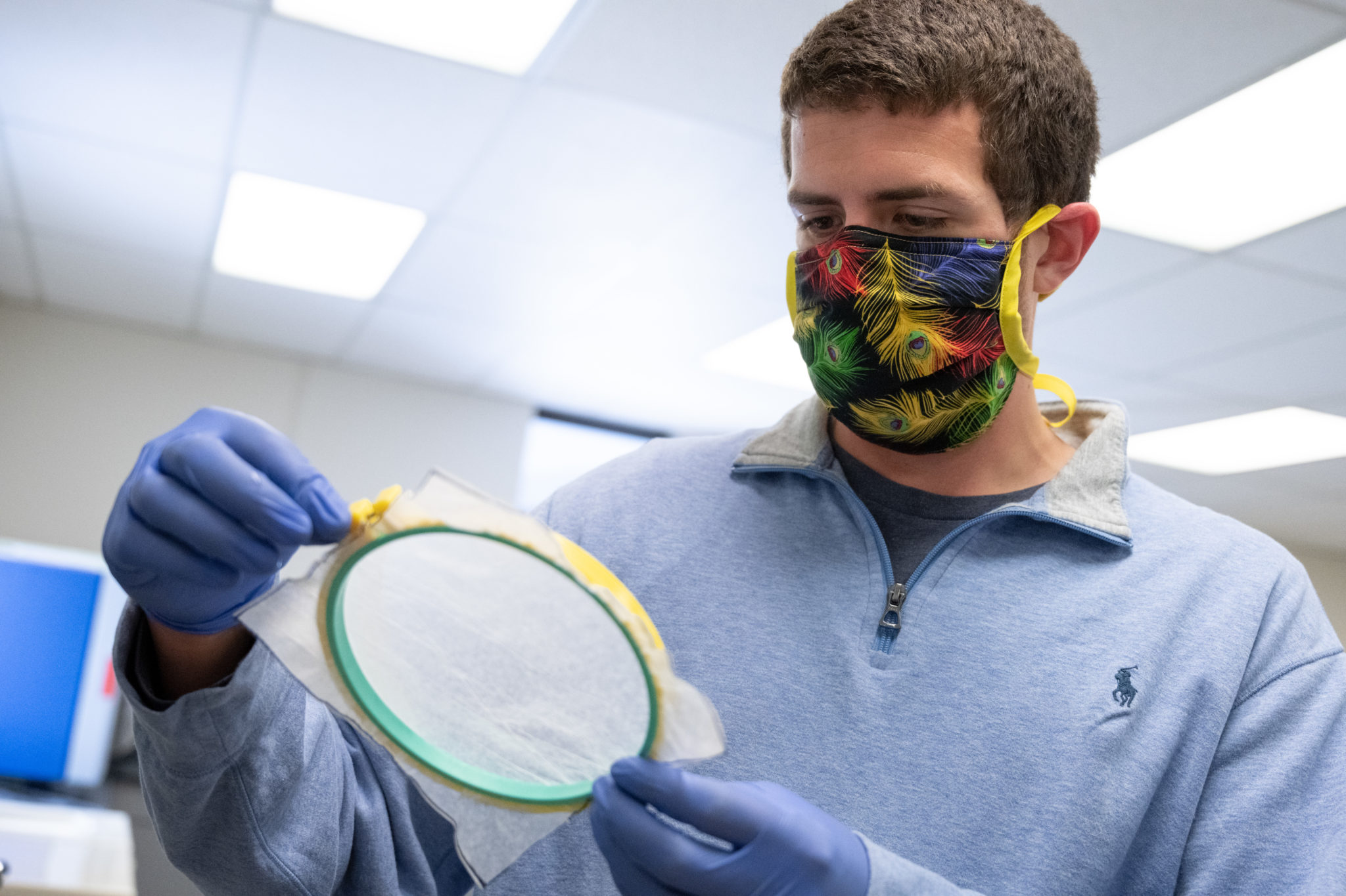 Textiles being tested in a lab