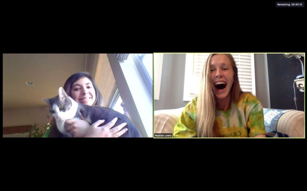 Juliana, a senior at Fossil Ridge High School, meets with her mentor Maddie Lewis on Zoom. The two usually talk about how the week went, family, and school. Juliana has even had the opportunity to show her cat, Charlie, to Lewis.