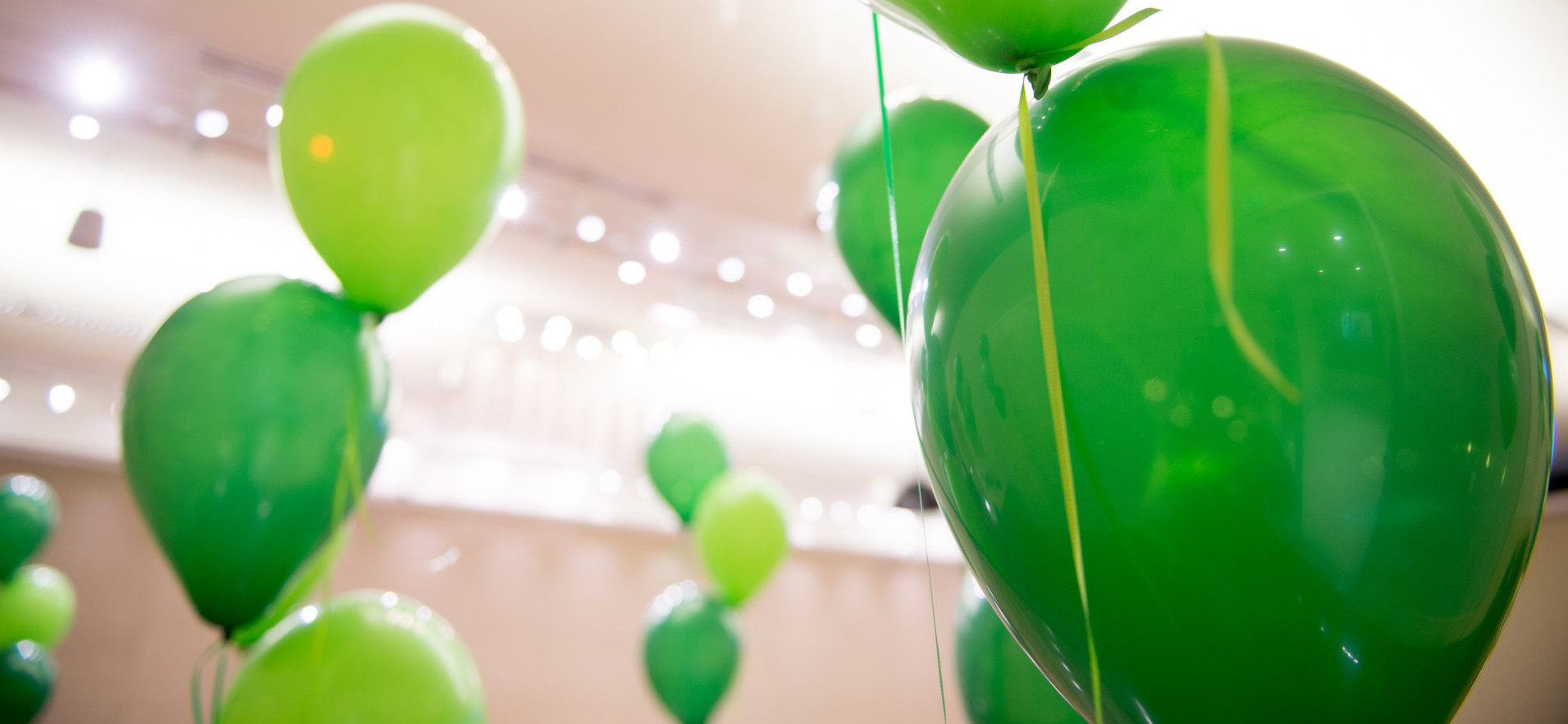 Green balloons at an event.
