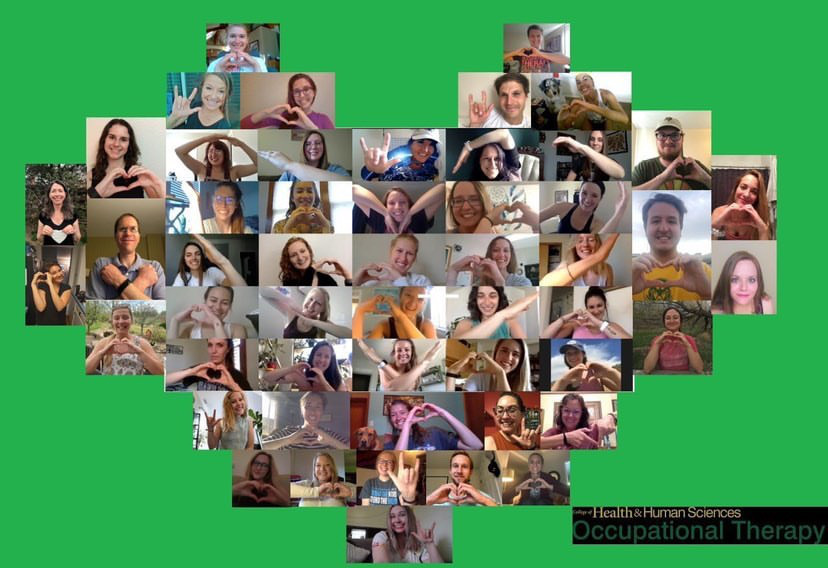 The occupational therapy students make the shape of a heart using their arms and hands over a virtual call in response to the campus moving to online classes because of the COVID-19 outbreak.