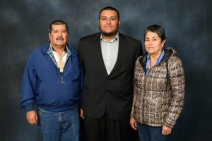 Ramiro Cervantes Arroyo with parents