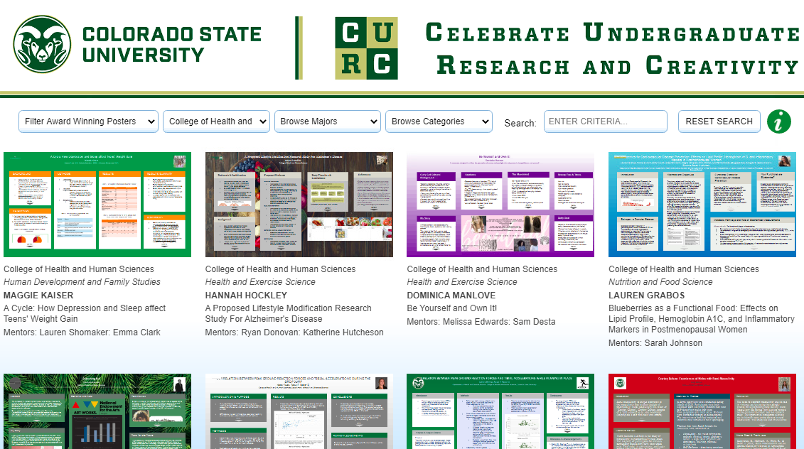 Screenshot of the virtual CURC showcase
