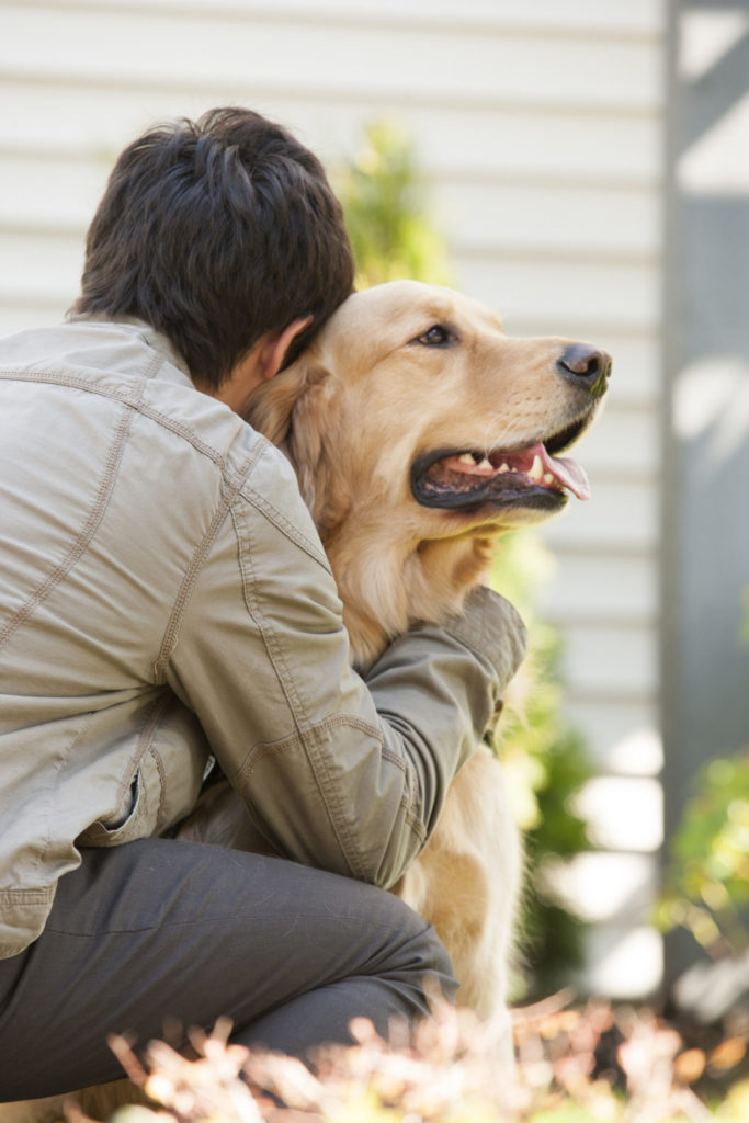 teenage boy hugging a golden retriever dog at home in the backyard