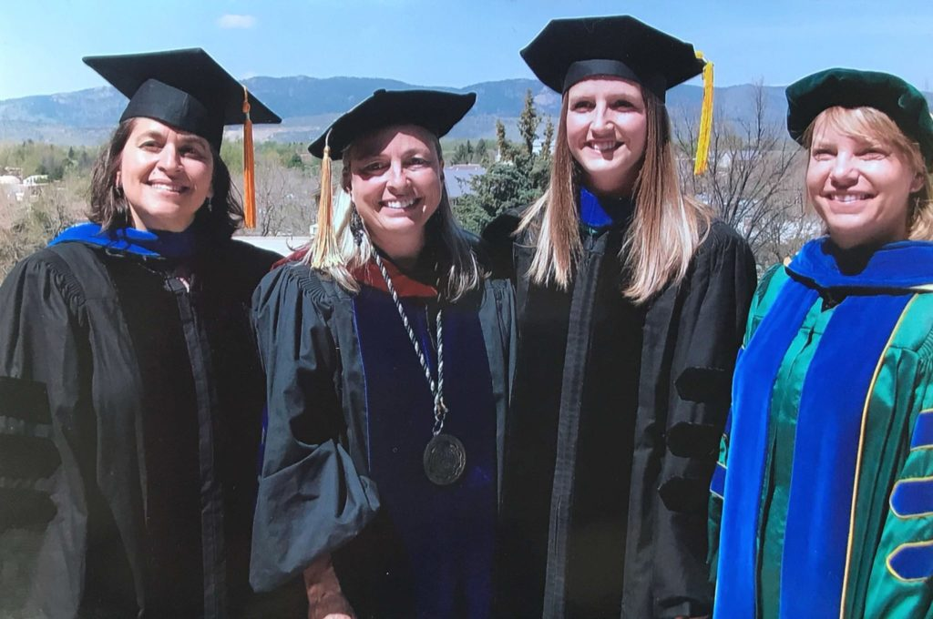 From left to right: Jen Krafchick, associate professor in the Department of Human Development and Family Studies, Toni Zimmerman, professor in the Department of Human Development and Family Studies, Lindsey Weiler, first graduate of the Applied Developmental Science program, and Shelley Haddock, professor in the Department of Human Development and Family Studies.