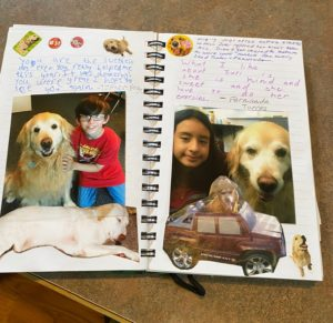 journal showing pictures of Zuri and students and handwritten notes from each student