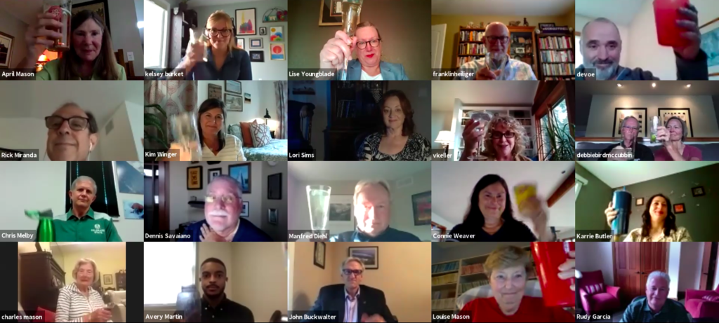 A Zoom grid displays the attendees of April Mason's virtual Legacies Event