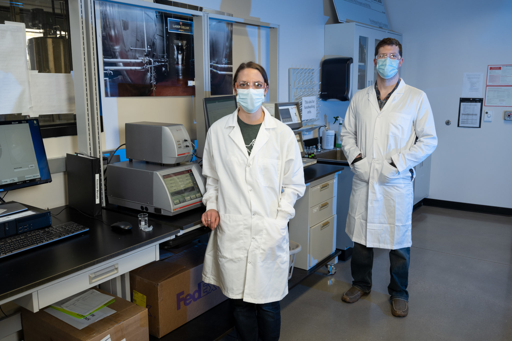 Katie Fromuth and Leo Kisla in the lab