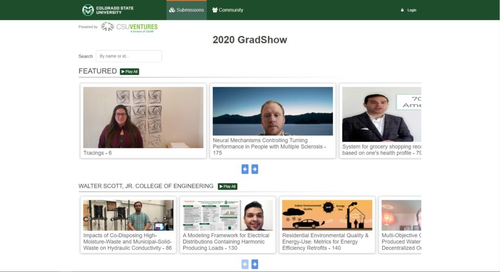 Screenshot of the GradShow virtual presentation page