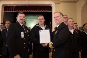 Josh Tenborg with Naval Officers