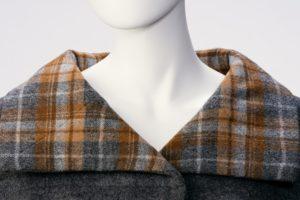Tartan collar close up of the Arnold Scaasi wool coat