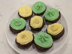 Chocolate Cupcakes with green and yellow frosting