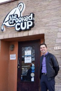 Gabriel Armstrong in front of the Crooked Cup