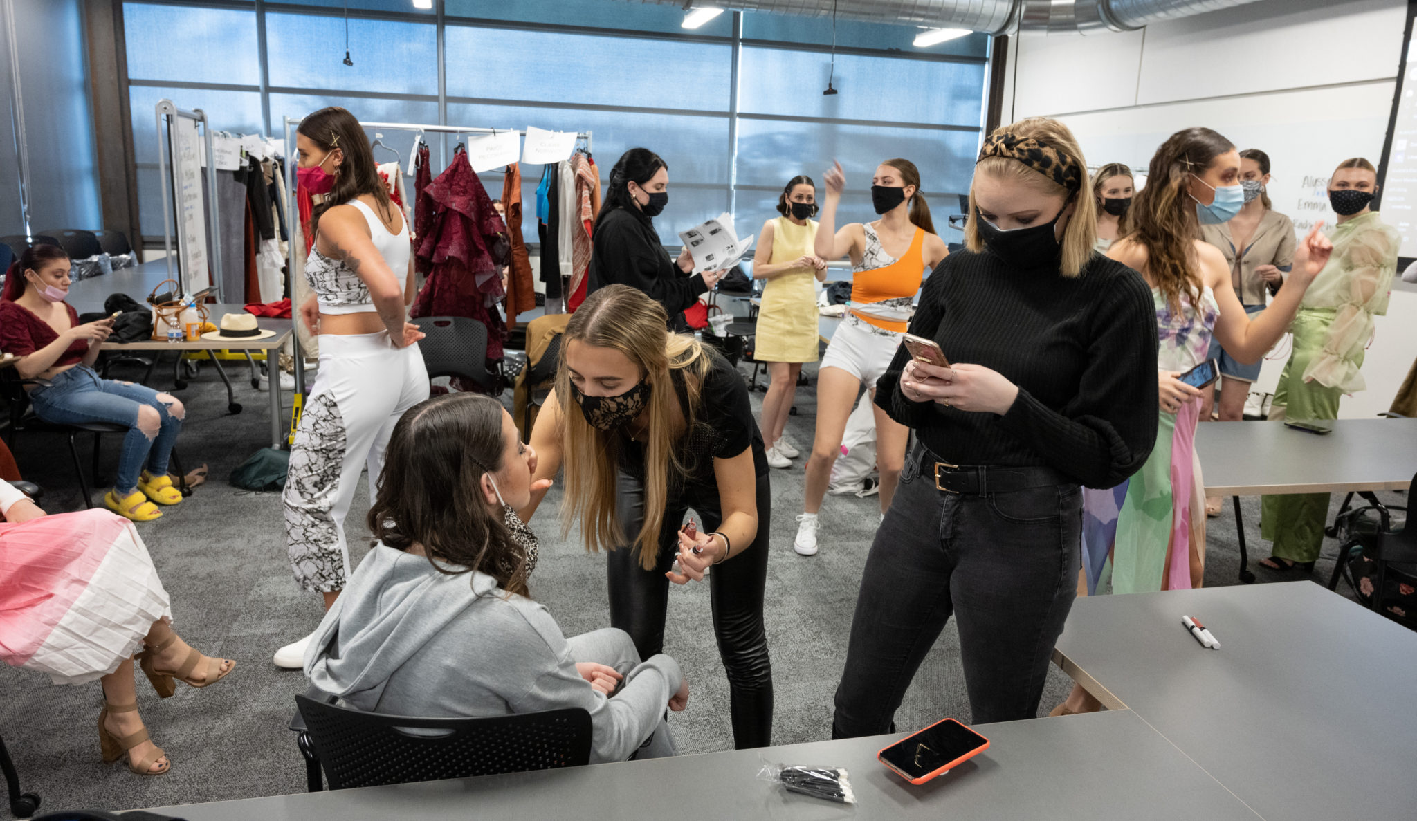 Students preparing for Fashion Show