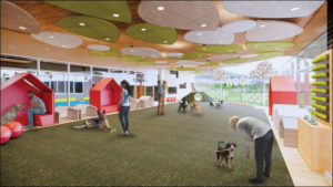 Design showing a large space where people and animals can interact