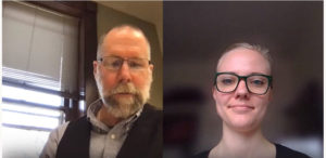 Sarah McCarthy and Matt Hickey on award zoom call