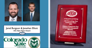 ASC Award for Best Conference Paper to Jared Burgoon and Jon Elliott