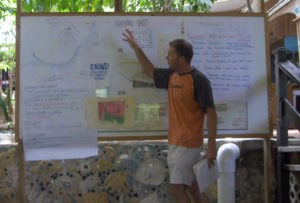 Cody Farmer in front of project plan on white board
