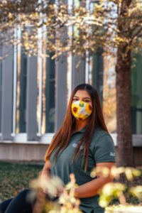 Kathryn Quintero wearing a CSU polo and mask