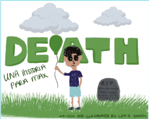 """Leah Young book cover: young child holding balloon standing next to a gravestone with the words """"Death"""" written above him"""