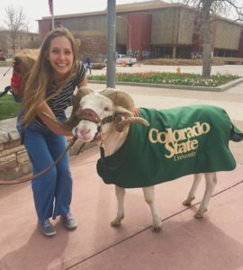 Emma Atchison with 4-legged CAM the Ram