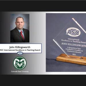 John Killingsworth award slide