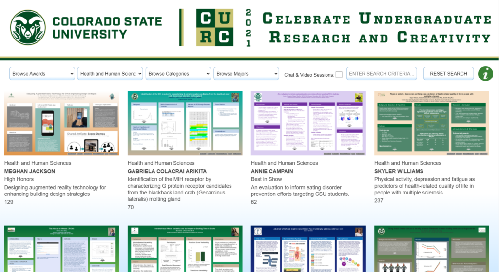 A screenshot of the CURC 2021 virtual platform with student's posters