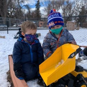 Early Childhood Center playing in snow