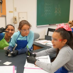 Girls doing an experiment with textiles in a lab