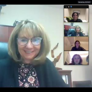 Screenshot of students in a virtual meeting