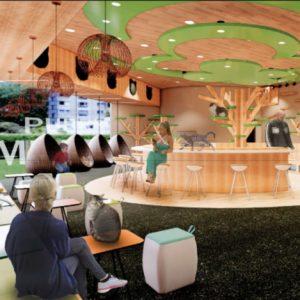 Interior design of a lobby area