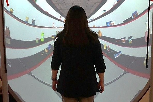 A person looking at a shelf in virtual reality