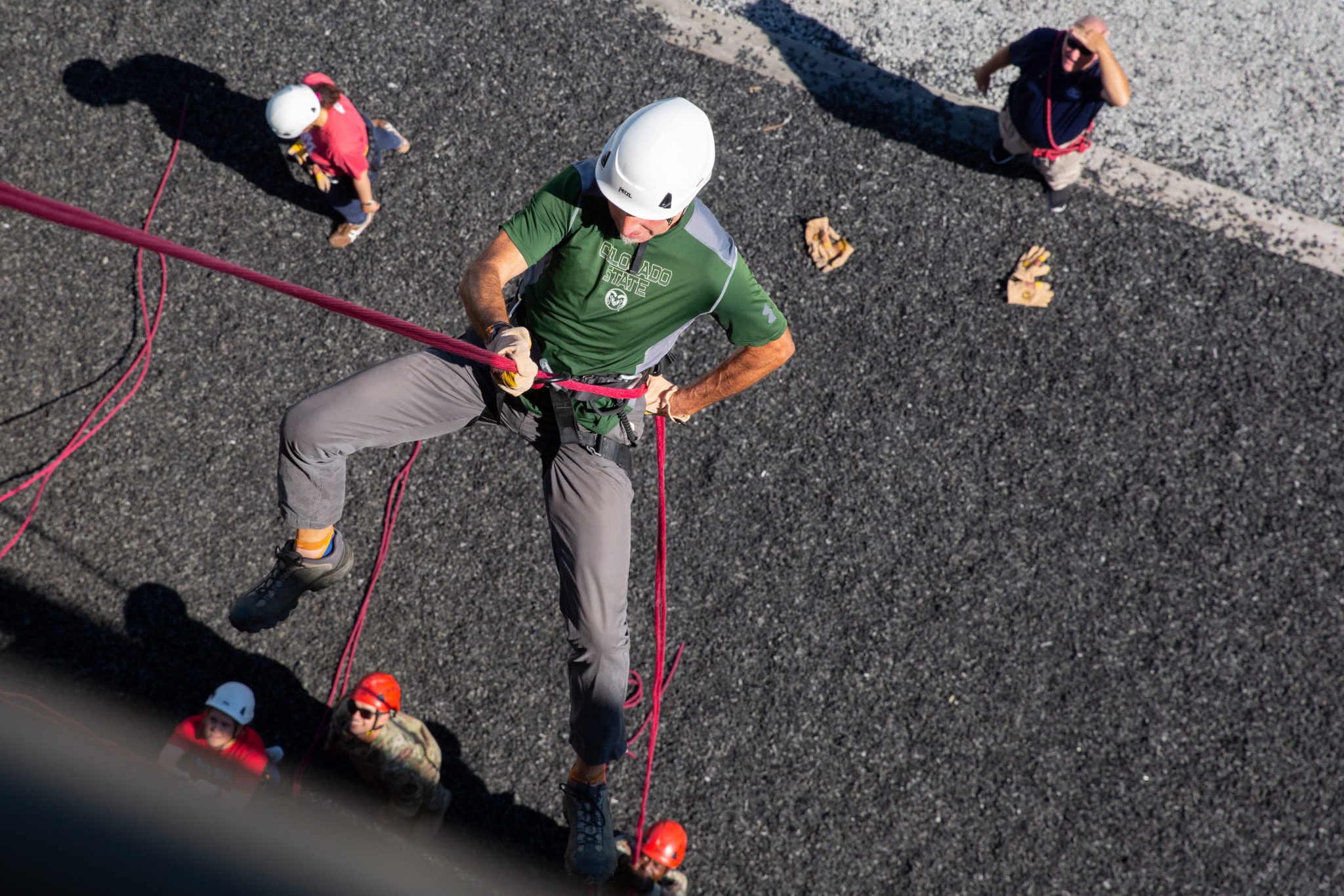 Barry Braun rappelling down the tower