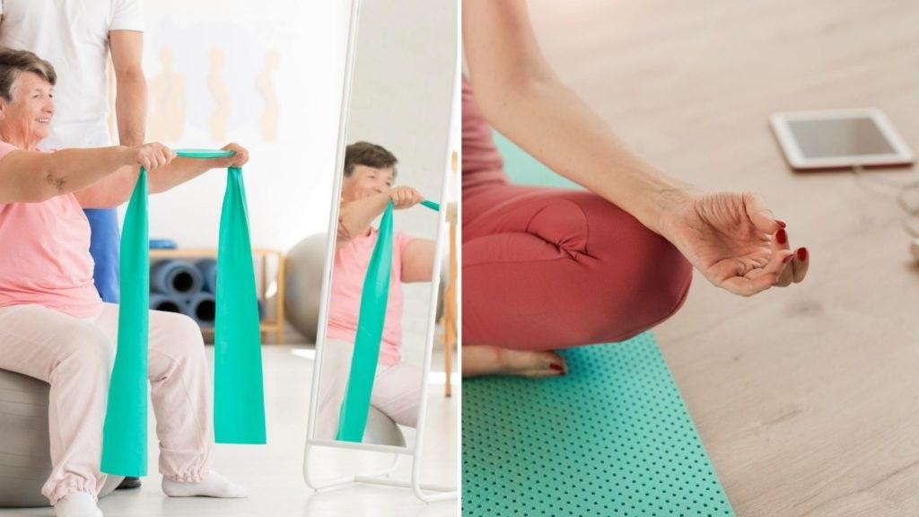 Individuals doing yoga