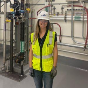Molly Margolis in hardhat on a jobsite
