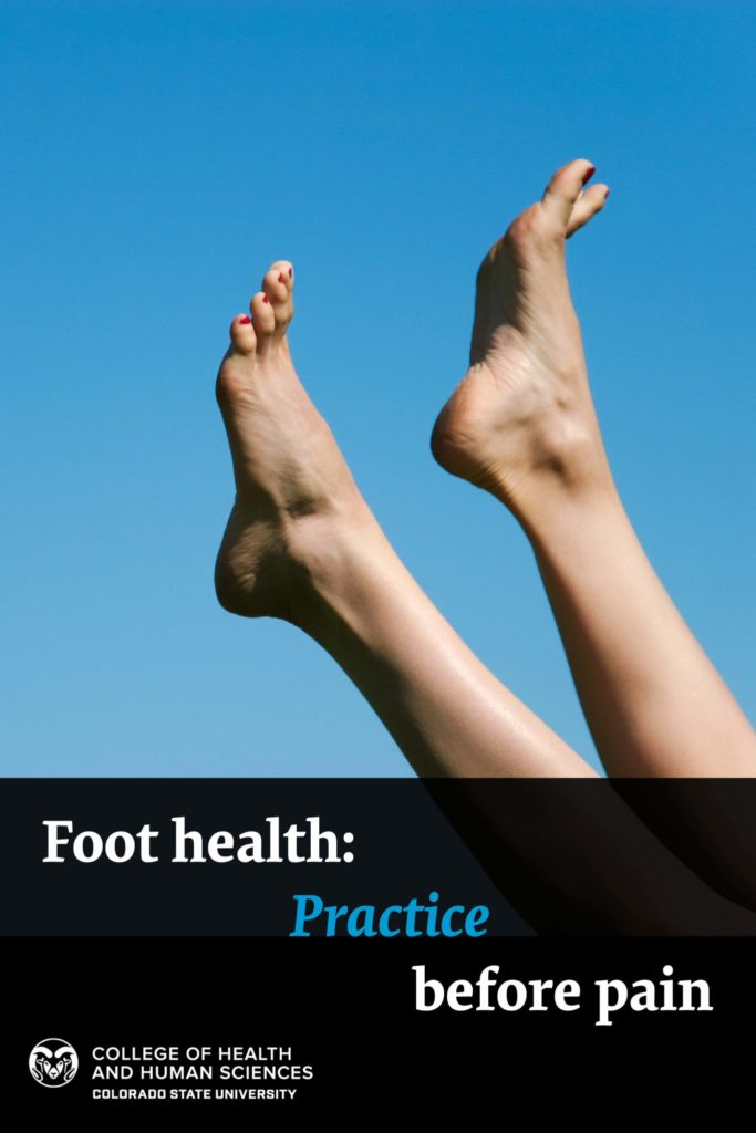 Foot health: practice before pain - Close-up of slim legs of female over blue sky enjoying summer