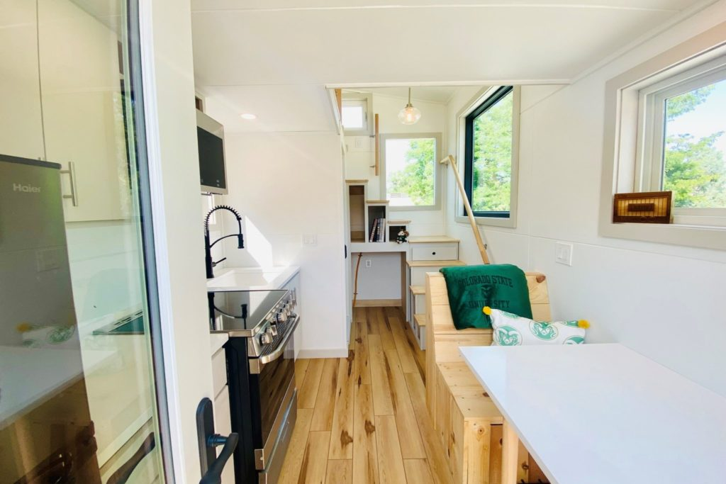 Interior of the Tiny House with a view from the front door