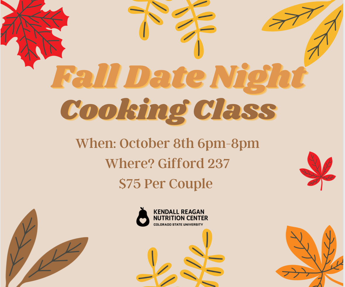 """The text on the image reads """"Fall Date Night Cooking Class"""" and features graphics of fall autumn leaves"""